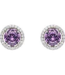 orecchini a lobo in argento con zirconi viola e bianchi per donna