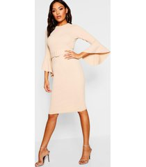 flared sleeve belted midi dress, stone