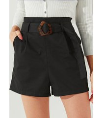 yoins negro cinturón diseño pantalones cortos de cintura alta