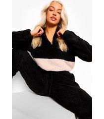 korte nepwollen colour block sweater, black