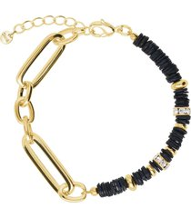 bracciale in ottone dorato con elementi conchiglia neri e strass per donna