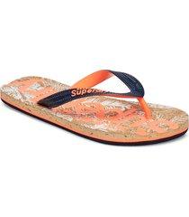 printed cork flip flop shoes summer shoes flip flops orange superdry