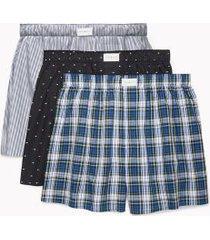 tommy hilfiger men's cotton classics woven boxer 3pk ithaca stripe/black microflag print/true blue tartan - xxl