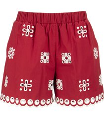 red valentino cotton shorts with sangallo embroidery