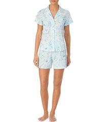 women's lauren ralph lauren short pajamas, size small - blue