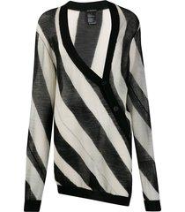 ann demeulemeester striped twist long cardigan - black