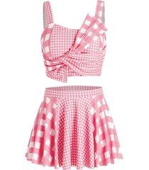 plus size plaid pattern asymmetric tankini swimsuit