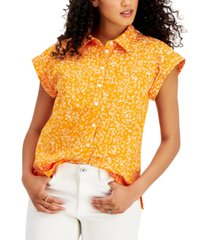 style & co cotton scatter-dot printed camp shirt, created for macy's