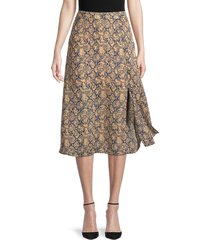 bcbgmaxazria women's snakeskin-print a-line skirt - brown - size 6