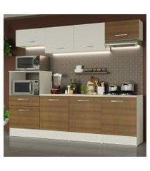 cozinha completa madesa onix 240002 com armario e balcão branco/rustic 096e branco/rustic/branco