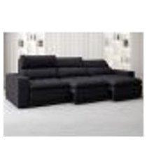 sofá bellagio 2,85m assento retrátil e reclinável velosuede preto - netsofas