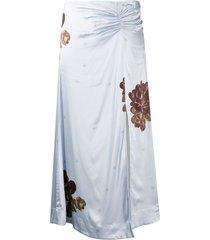 ganni floral print ruched detail skirt - blue