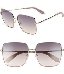 women's kate spade new york fenton 60mm gradient square sunglasses - pink/ grey fuschia
