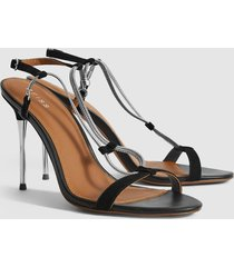 reiss kendall - chain detail heeled sandals in black, womens, size 10