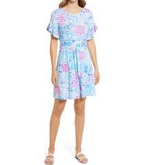 women's lilly pulitzer riegan print knit dress, size large - blue