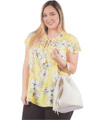 blusa adrissa plus estampado floral detalles artesanales amarilla