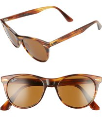men's ray-ban 52mm square sunglasses - striped havana