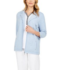 karen scott french terry notched-collar jacket, in regular and petite, created for macy's