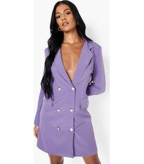 tall geweven blazer jurk, purple