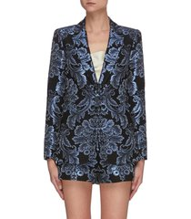 bristol' metallic floral jacquard single button blazer