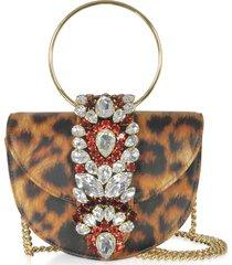 gedebe designer handbags, mini brigitte animal printed leather clutch