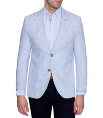 tailorbyrd men's standard-fit check jacket - blue - size 38 r