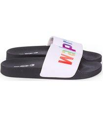 mah gender neutral walk proud pool slides - white rainbow - size w 8 / m 6y sandals