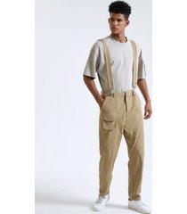 hombres moda llanura cremallera mosca suspender casual pantalones
