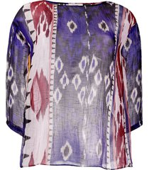 forte forte patterned sheer tunic top - blue