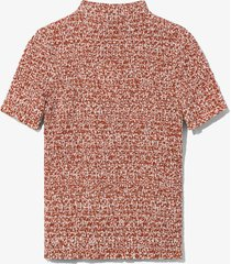 proenza schouler white label micro floral smocked top offwhite/rust/red 10
