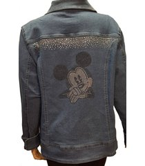 mickey mouse denim bling jacket long sleeves, pockets, and rhinestone buttons pl