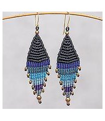 hand-knotted dangle earrings, 'boho diamonds in blue' (thailand)