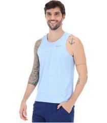 camiseta regata nike dry miler - masculina - azul claro
