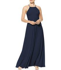 women's #levkoff halter neck chiffon a-line gown, size 18 - blue