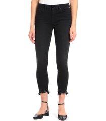 women's mavi jeans tess destroyed hem crop skinny jeans, size 30 27 - black