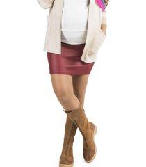 mini falda maternal cuerina rojo madremia