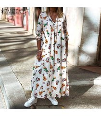 zanzea mujer cuello en v manga corta floral casual verano holgado playa vestidos largos -blanco