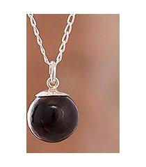 obsidian pendant necklace, 'hypnotic orb' (peru)
