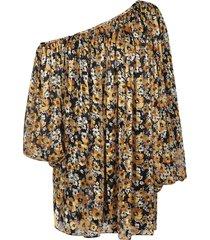 saint laurent asymmetric one-shoulder floral dress