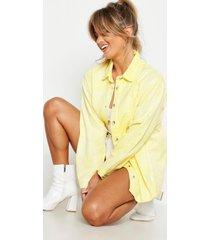 oversized acid-washed stug denim shirt, geel