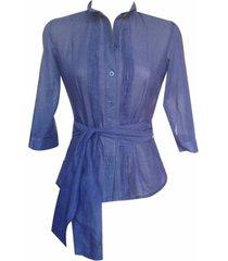 blusa camisera con lazo manga 3/4 sarab -azul
