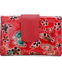 billetera mediana 047 cuero tala flores rojo