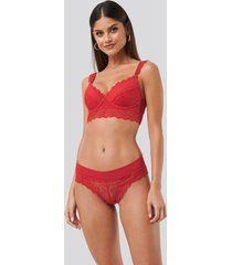 na-kd lingerie wide lace panty - red
