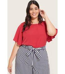 blusa manga corta con vuelo escote redondo-14