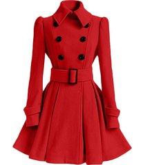 casaco feminino winter middle long double breasted women's woolen coat jacket ou