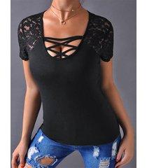 zanzea camiseta negra de manga corta con escote cruzado cruzado cuello