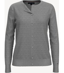 tommy hilfiger women's essential twisted cable cardigan light grey heather - xxs