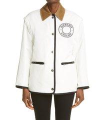 women's burberry westcliff logo reversible convertible jacket, size small - white