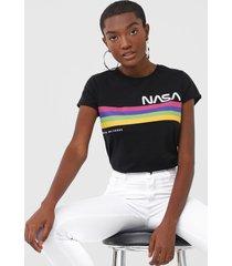 camiseta fiveblu nasa preta - preto - feminino - algodã£o - dafiti