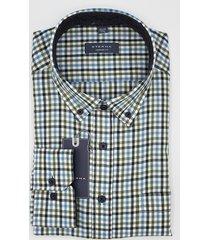 eterna heren overhemd en bruin medium geruit button-down comfort fit blauw